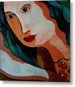 Woman In Orange And Blue Metal Print