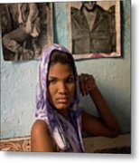 Woman In Purple Havana Cuba Metal Print