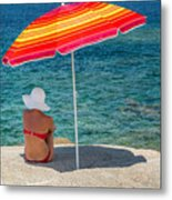 Woman In Red Bikini And White Hat Under Parasol Looking Out To S Metal Print