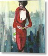 Woman In Red Dress By Condo Window Metal Print