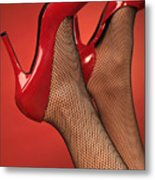 Woman In Red High Heel Shoes Metal Print