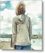 Woman In Rustico Harbor Prince Edward Island Metal Print