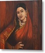 Woman In Saree - After Raja Ravi Varma Metal Print