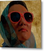 Woman In Scarf And Sunglasses Metal Print