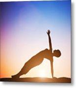 Woman In Side Balance Yoga Meditating At Sunset Metal Print
