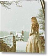 Woman In Snow Scene Metal Print