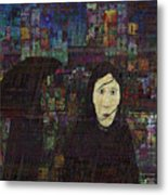 Woman In The Rain Metal Print