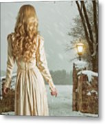 Woman In Winter Scene Metal Print