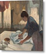 Woman Ironing Metal Print