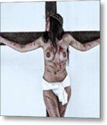 Woman Jesus On Cross I Metal Print