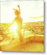 Woman Jumping At Oporto Metal Print