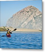 Woman Kayaking In Morro Bay Metal Print by Bill Brennan - Printscapes