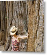 Woman Leaning On Giant Sequoia Tree Metal Print