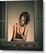 Woman Looking Out Of A Window Metal Print