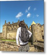 Woman Looks The Stirling Castle Metal Print