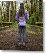 Woman On An Old Moss Covered Bridge In Olympic National Park Metal Print