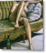 Woman On Green Sofa Metal Print