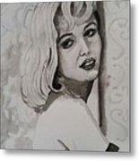 Woman On Wall Metal Print