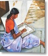 Woman Picking Rice Metal Print