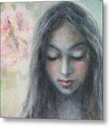 Woman Praying Meditation Painting Print Metal Print