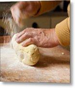 Woman Preparing Dough For Kopytka Metal Print