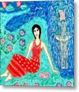 Woman Reading Beside Fountain Metal Print