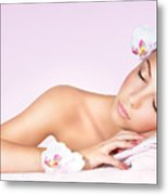 Woman Relaxing On Massage Table Metal Print