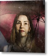 Woman Resilient In Storm Through Positive Thinking Metal Print