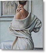 Woman Sat In A Gallery Metal Print