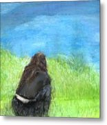 Woman Sitting Against Water Metal Print