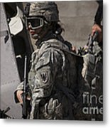 Woman Soldier Conducts A Combat Metal Print