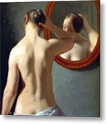 Woman Standing In Front Of A Mirror 1841 Metal Print