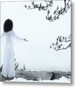 Woman Standing On A Cliff With Spread Hands Embracing The World Metal Print