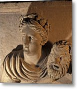 Woman Statue Holds A Mask Of Pan Metal Print