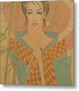 Woman Under The Bamboo Umbrella Metal Print