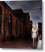 Woman Walking Away With A Child Metal Print