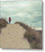 Woman Walking In The Dunes Of Cape Cod Metal Print