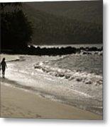 Woman Walking On A Deserted Beach Metal Print