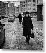 Woman Walking On Path In Russia Metal Print