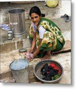 Woman Washing Clothes In Khajuraho Village Metal Print