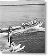 Woman Water Skiing Metal Print