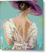 Woman Wearing A Purple Hat Metal Print