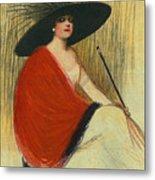 Woman Wearing Hat Metal Print