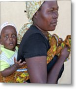 Woman With A Baby In Tanzania Metal Print