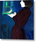 Woman With A Bird Cage  Detail Metal Print