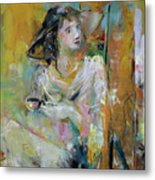 Woman With A Cup Of Coffee Metal Print