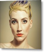 Woman With A Funky Hairstyle Metal Print
