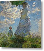 Woman With A Parasol, Madame Monet And Her Son, Claude Monet Digitally Enhanced Metal Print