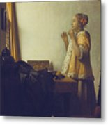 Woman With A Pearl Necklace Metal Print