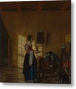 Woman With A Water Pitcher And A Man By A Bed The Maidservant Metal Print